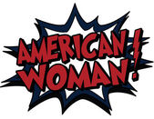 Word american woman in comic style — Vettoriale Stock