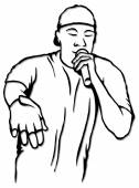 Black and white sketch of rap singer — Stock Vector