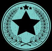 Circular laurel wreath with stars - label — Stock Vector