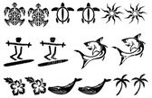 Set of islands tattoos — Stock Vector