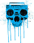 Blue radio skull — Stock Vector
