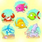 Funny sea animals. — Stock Vector #52153719