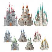 Set of medieval castles in different colors. — Vecteur