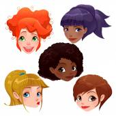 Female faces.  — Stock Vector