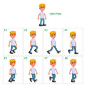 Animation of boy walking. — Stock Vector