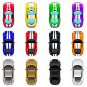Set of three cars in four different colors. — Stockvector