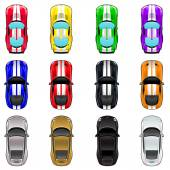 Set of three cars in four different colors. — Vecteur