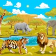 African landscape with animals.  — Stock Vector #58334773