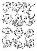 Marine animals and fauna of the pond — Cтоковый вектор