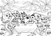 Funny animals in the jungle — Cтоковый вектор