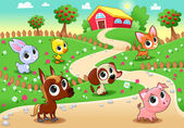 Funny farm animals in the garden — Stock Vector