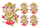 Ganesh in 5 different colors — Stock Vector