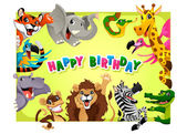 Happy Birthday card with Jungle animals — Stock Vector