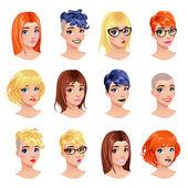 Fashion female avatars — Stock Vector