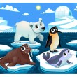Polar animals on the ice — Stockvektor  #75410603