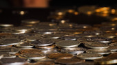 A lot of money. Coins rubles — Stock Photo