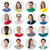 Composition of diverse smiling people — Stock Photo