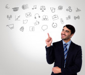 Man in suit choosing technology icons — Foto Stock
