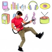 Guitarist playing on imaging guitar — Stock Photo