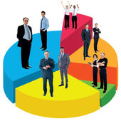 Different people standing on pie chart — Foto Stock
