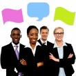 Business people talking with speech bubbles — Stock Photo #55561849