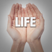 Open palms with word life — Stock Photo