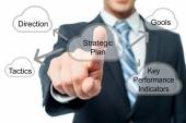 Businessman pressing strategic plan button — Stock Photo