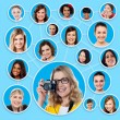 Social network of a female photographer — Stock Photo #58408719