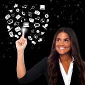 Businesswoman prefers social media platform — Stock Photo