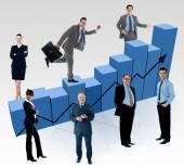 Ludzie biznesu, analizy wahań na rynku — Zdjęcie stockowe