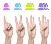 Woman's hand counting female smileys — Stock Photo