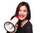 Woman proclaiming into the loudspeaker — Stock Photo
