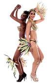 Female samba dancers in carnival costumes — Stock Photo