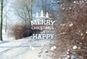 Vintage Merry Christmas and Happy New Year Greeting Card — Stock Photo