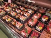 Sushi packs in Japanese supermarket — Stock Photo