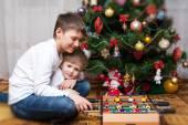 Happy brothers. Christmas photo — Stock Photo