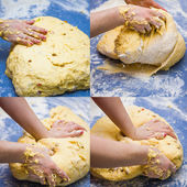 Hands knead dough. Photo set — Stock Photo