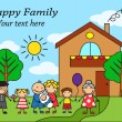 Cartoon big happy family near the house — Stock Vector #51845181