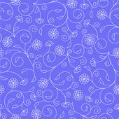 Floral seamless pattern with thin white swirls — Stock Vector