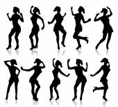 Silhouettes of a dancing woman — Stock Vector