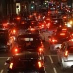 Evening traffic, London city lights — Stock Photo #69732417