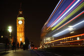 Big Ben seen from Westminster Bridge at Night — Stock Photo