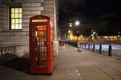 Red phone booth, Big Ben — Stock Photo