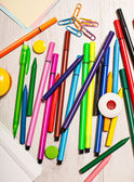 Office tools assortment on white table — Stock Photo