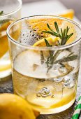 Rosemary lemonade cold cocktail drink — Stock Photo