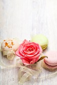 Rose en snoepjes Valentijn achtergrond — Stockfoto