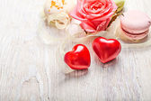 Hears and sweets valentine background — Stock Photo