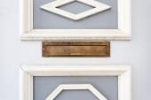 Mail slot in wood door — Stock Photo