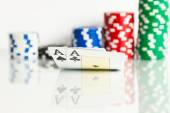 Two aces with chips — Stock Photo