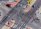 High angle view of a street intersection — Stock Photo